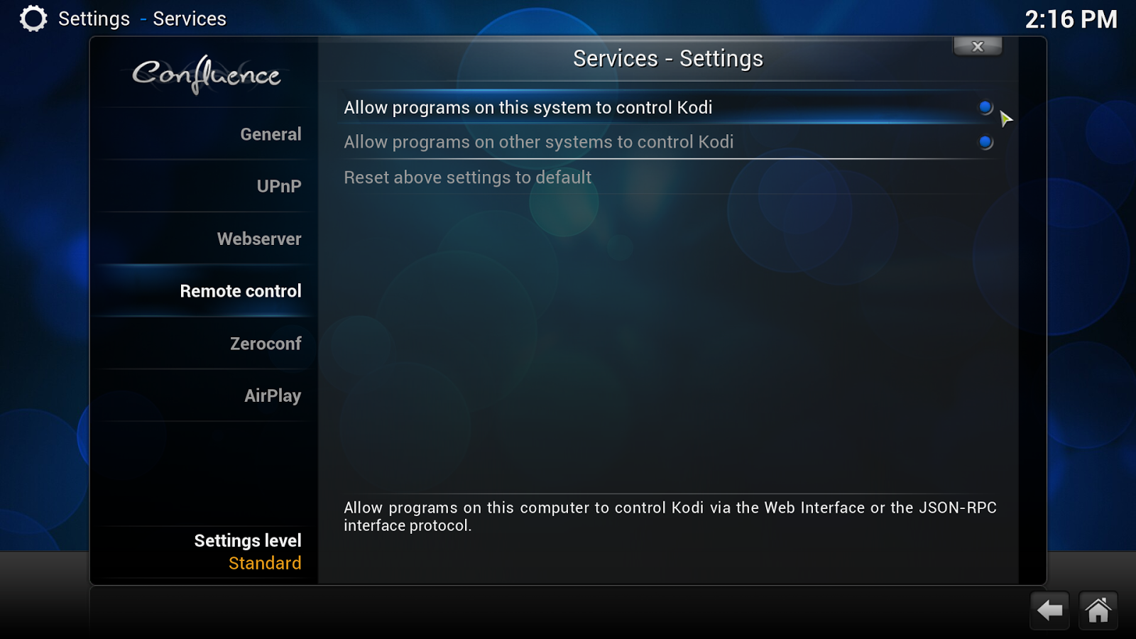 remote control settings in kodi