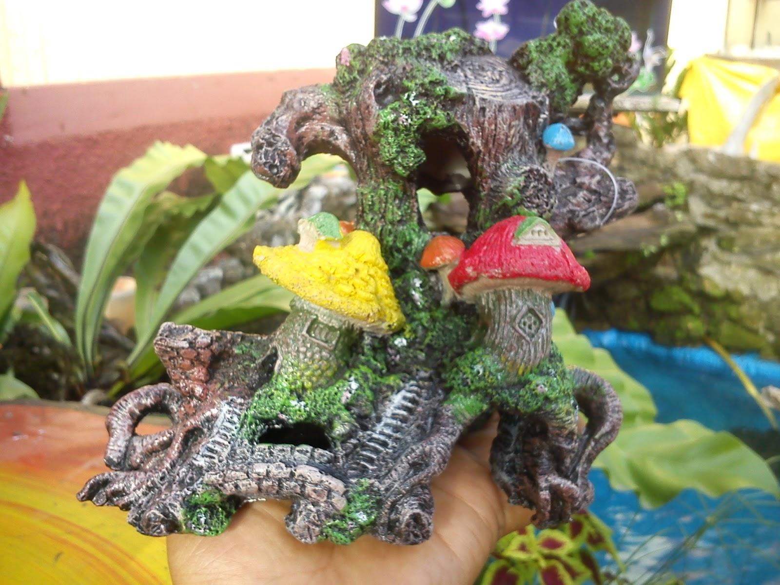 Hiasan unik aquarium akar kayu dan cendawan (RM23.00)