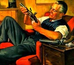Propaganda da Bebida Imperial com um homem manuseando arma de fogo.