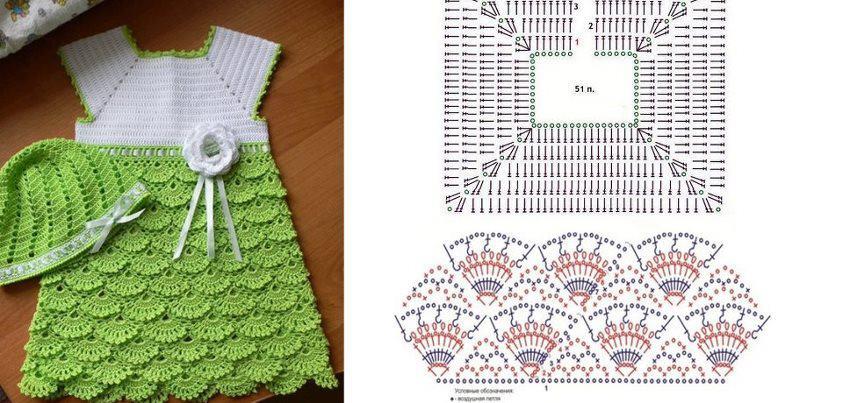 Imagenes de patrones de vestidos al crochet para bebés - Imagui