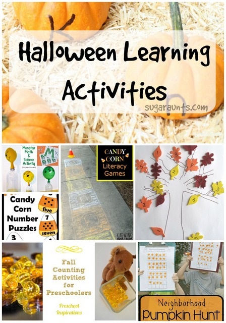 halloween learning activities for preschool and toddlers. Math, science, literacy activities with a fall or Halloween theme.