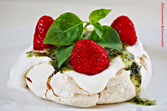 Strawberry Pavlova sweet Thai Basil Pesto
