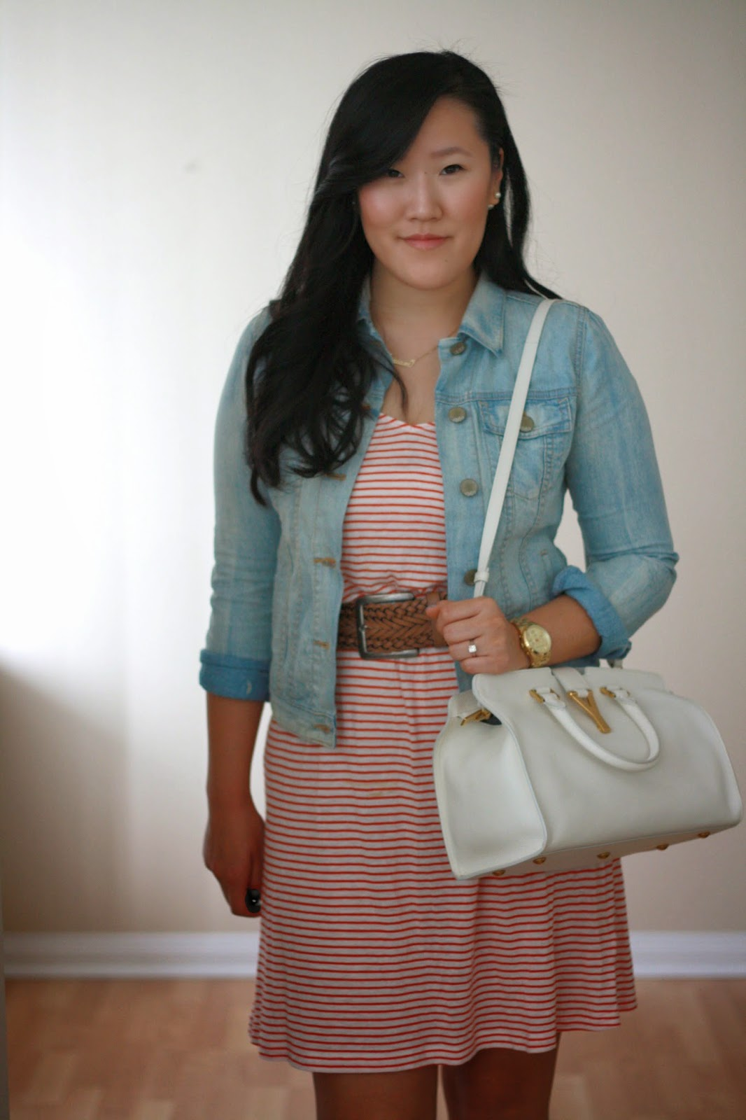simplyxclassic, jcrew, stripes, candy stripes, ysl , ysl cabas, ysl handbag, gap denim, gap jacket, aldo shoes, heels, southern california blogger, blogger, fashion blogger, style blogger, ootd, outfit, summe