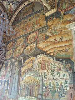 Hurezi Monastery, Oltenia, Romania, paintings left  to the main entrance