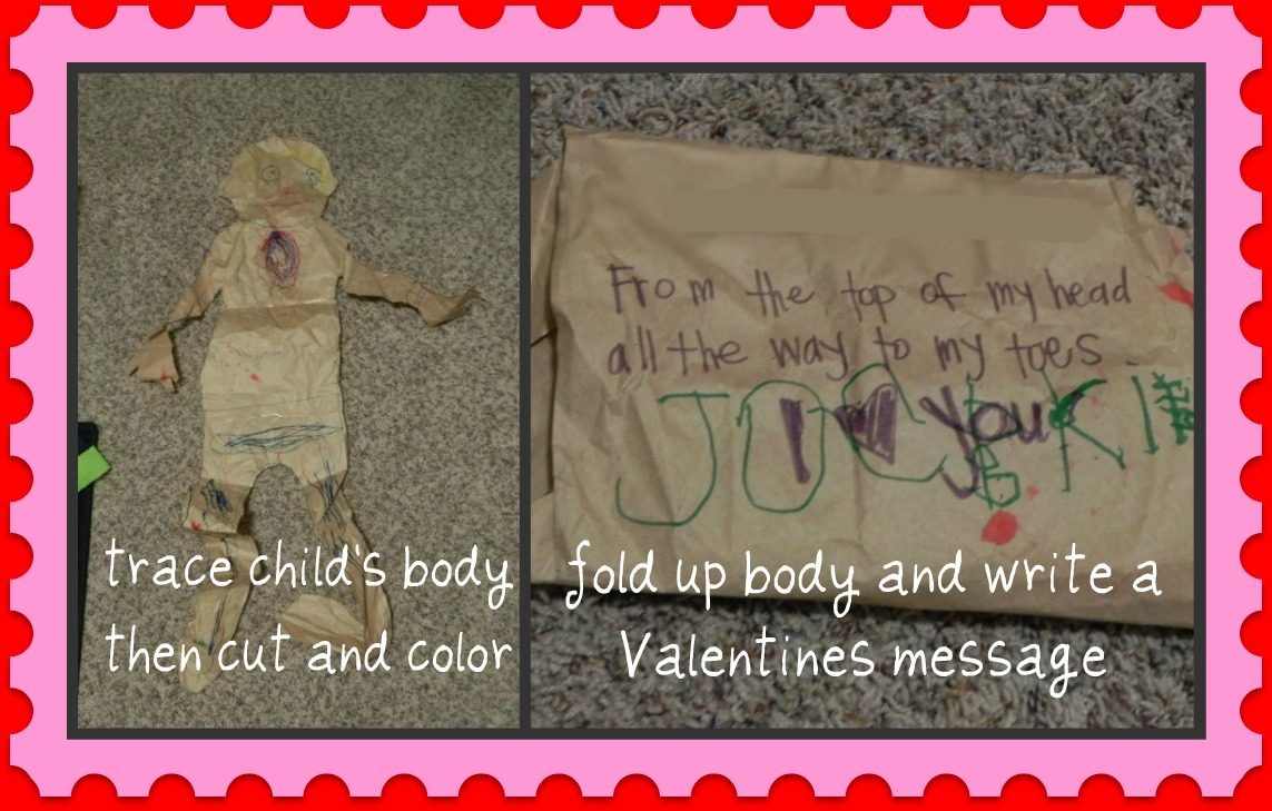 last minute valentine card ideas the home teacher trace your child on large butcher paper i saved all my packing paper from online christmas shopping it works perfectly