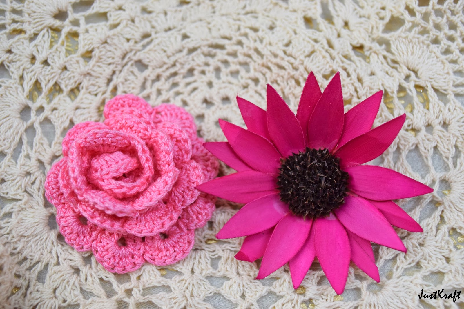 Pink crochet rose flower