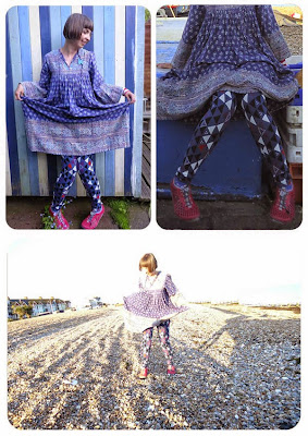 Gudrun's Cirkus leggings, walking Worthing beach