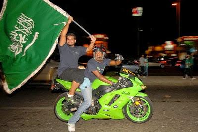 cheering Saudis