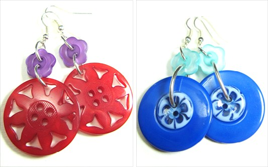 Cool drop dangle earrings have big fashion buttons hanging from cute flower buttons
