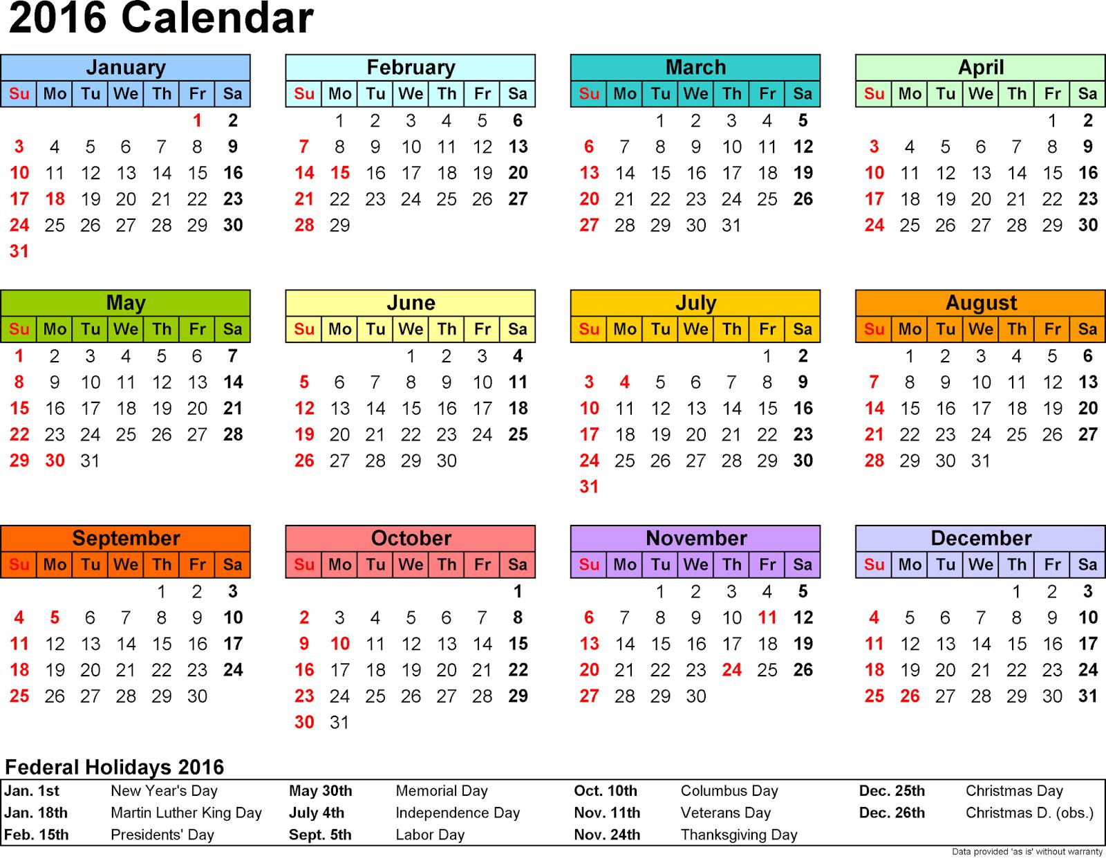 Free cute printable calendar 2016 for How to make a cute calendar