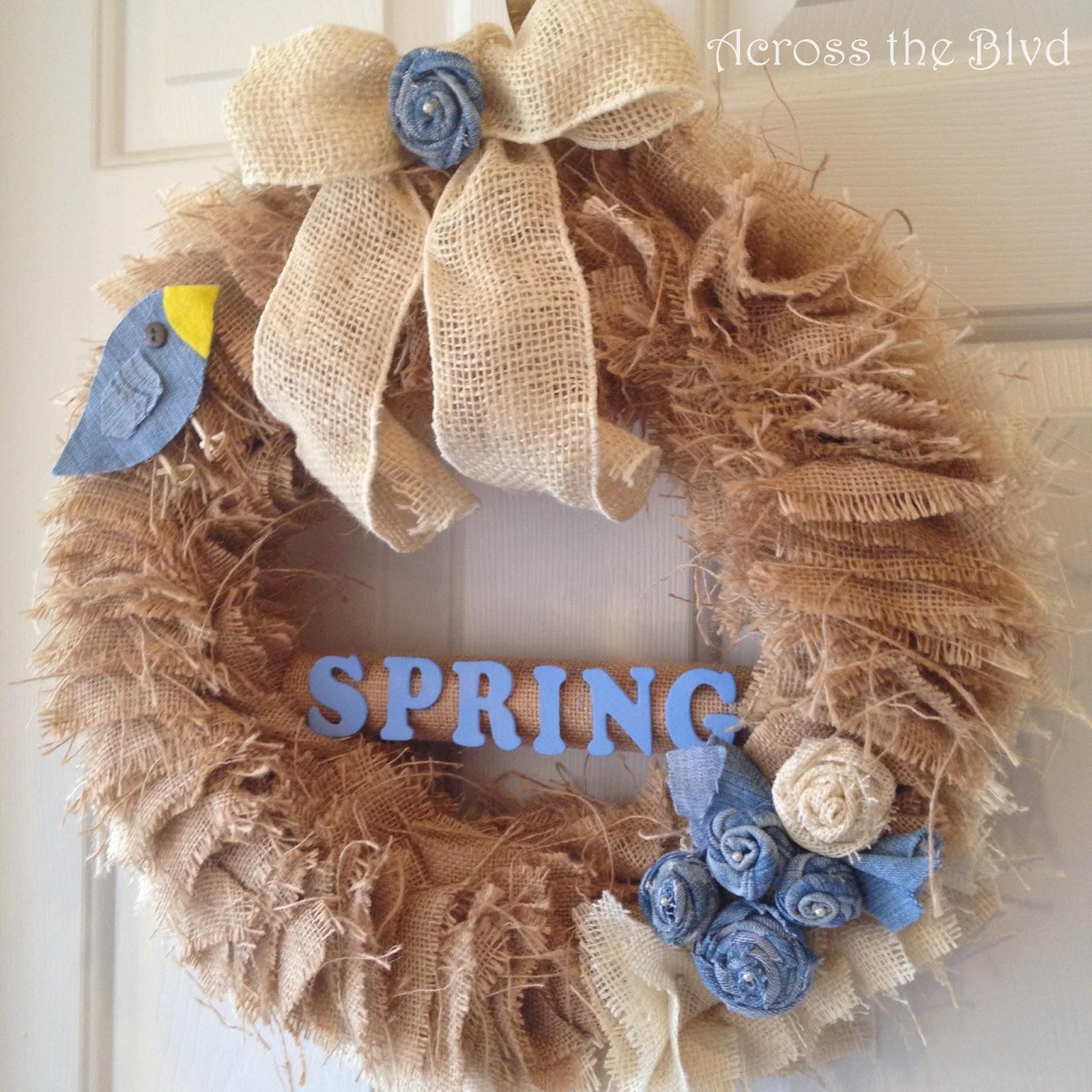 Spring Wreath Using Burlap and Denim