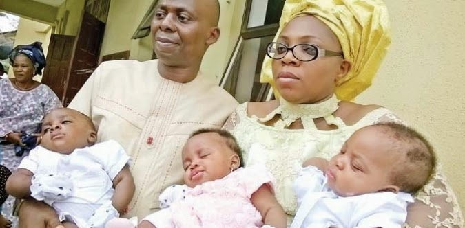 woman gives birth triplets 14 years marriage