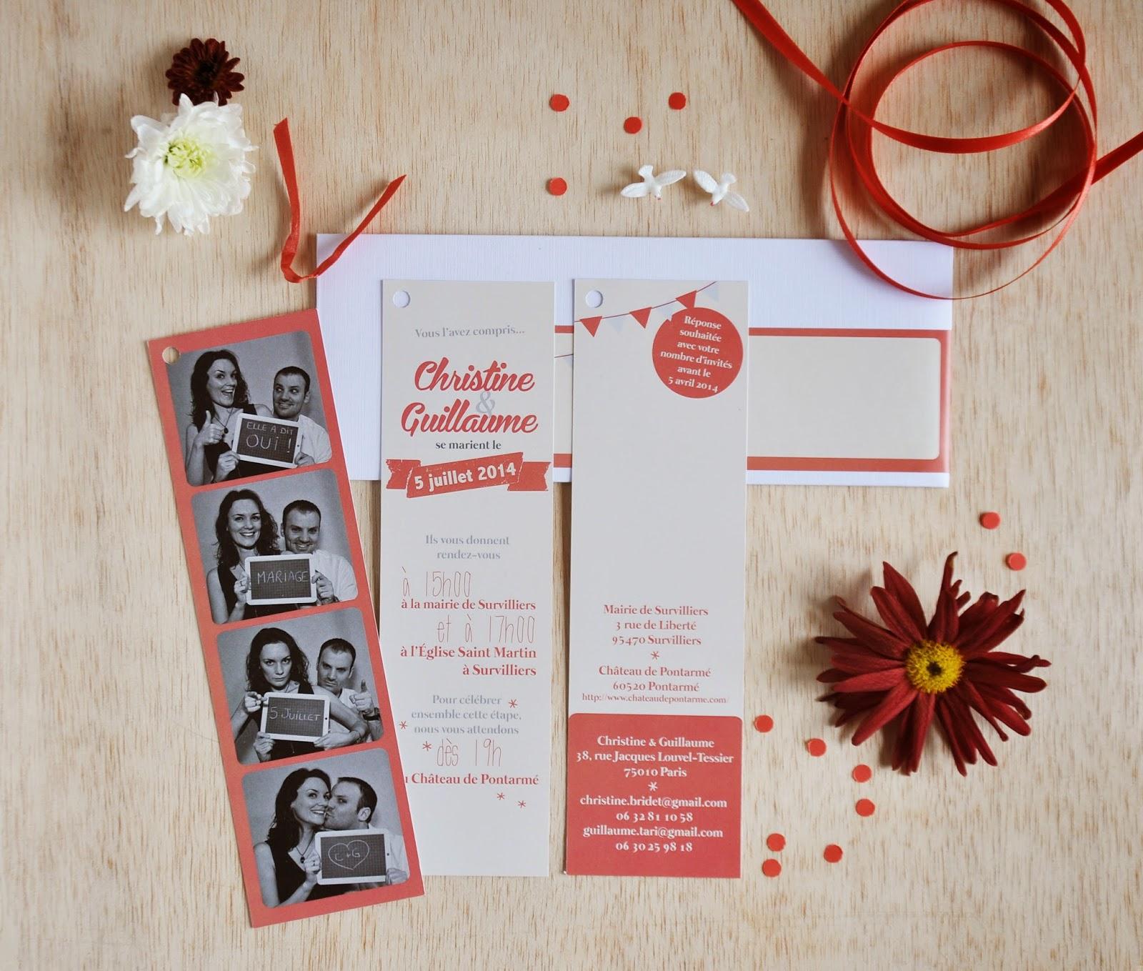 faire part mariage photomaton en papier 300gr lien en rubans de couleur avec enveloppe longue et tiquette pour adresse assortie - Faire Part Mariage Photomaton