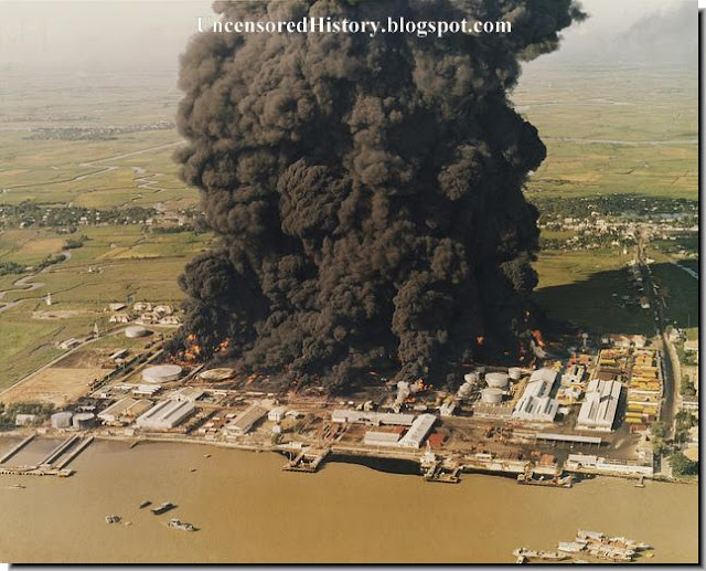 South Vietnamese oil depot burning NVA attack