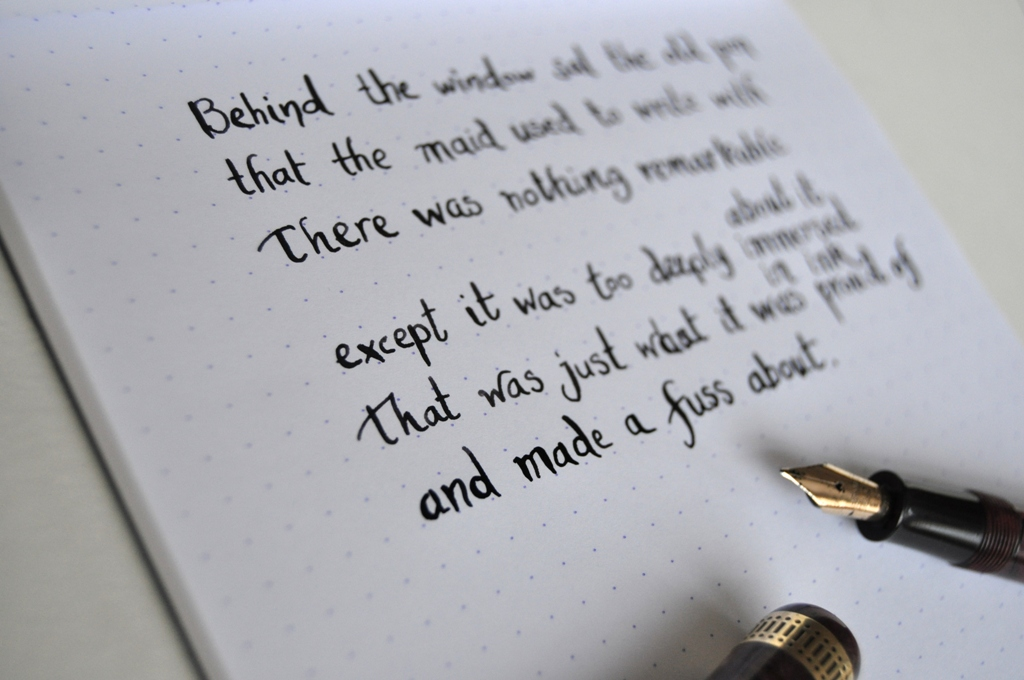 Platignum 1930s fountain pen review palimpsest Writing calligraphy with a fountain pen