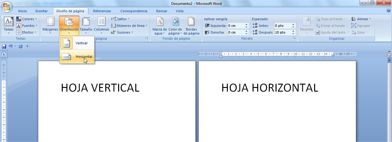 hoja de word horizontal: