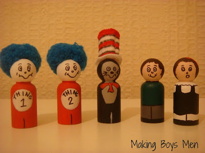 Cat in the hat peg dolls for story telling