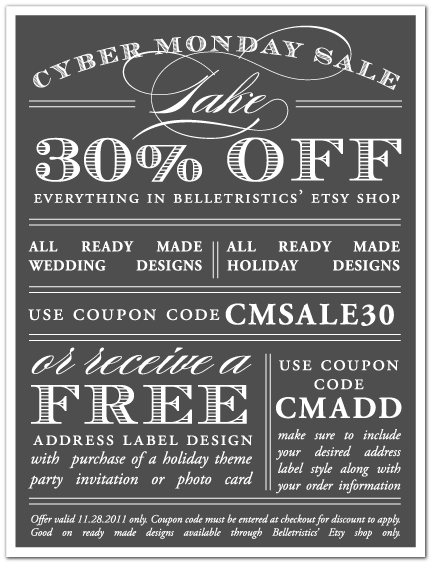 cyber monday sale belletristics coupon code etsy