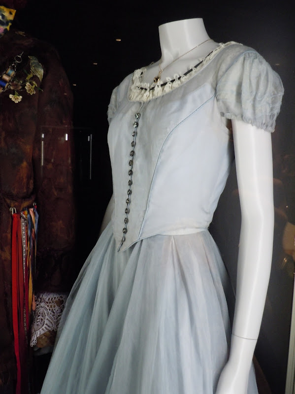 Blue silk Alice in Wonderland movie dress