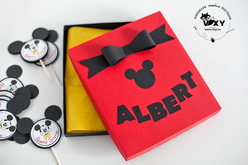 cutie cadou personalizata Mickey Mouse, cutie carton cadou, cutie handmade Mickey, Mickey Mouse, vixy.ro