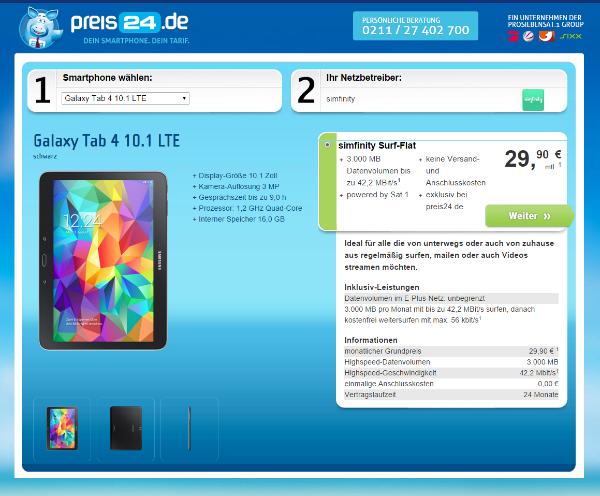 preis24.de - Handy mit Vertrag günstig online bestellen  Samsung Galaxy Tab 4 10.1 Angebotsstruktut
