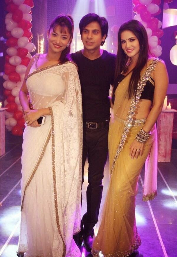 Sunny Leone in beautiful sari to promote Ragini MMS 2, posing with Ankita and Naren on Zee TV serial Pavitra Rishta