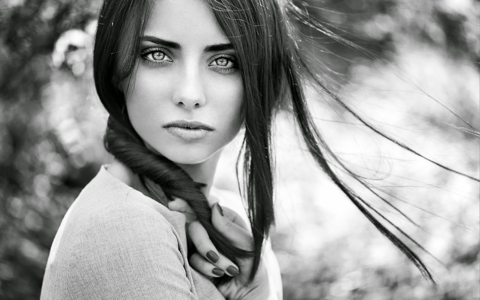 Minimalistic brunette girl look black and white photo enjoy this awesome epic hd wallpaper