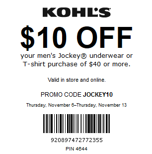 Kohls coupon save $10 Off Men's Underwear or T-shirt