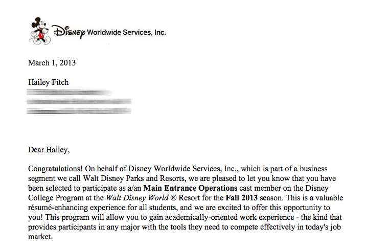 Hailey's Disney Days : I was accepted into the Disney College Program!