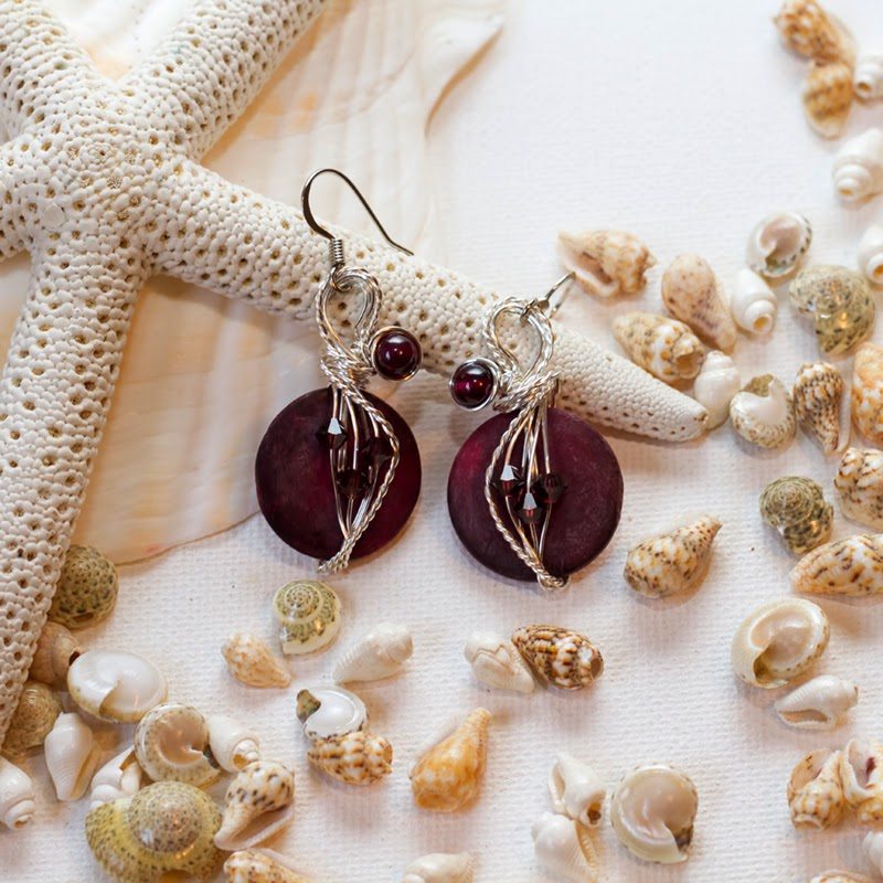 burgundy earrings, coconut shells