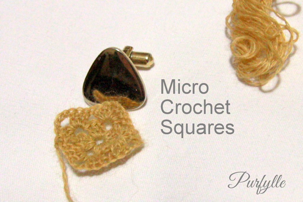Micro crochet squares and cuff link for scale