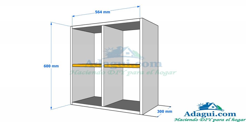 Plano y dise o con medidas mueble alto de cocina melamina - Medidas encimera cocina ...