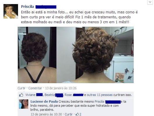 Fotos do cabelo da Priscila