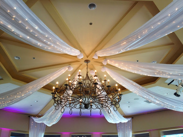 Disneyland Wedding - The lighted ceiling draping at Sleeping Beauty Pavilion, Disneyland Hotel