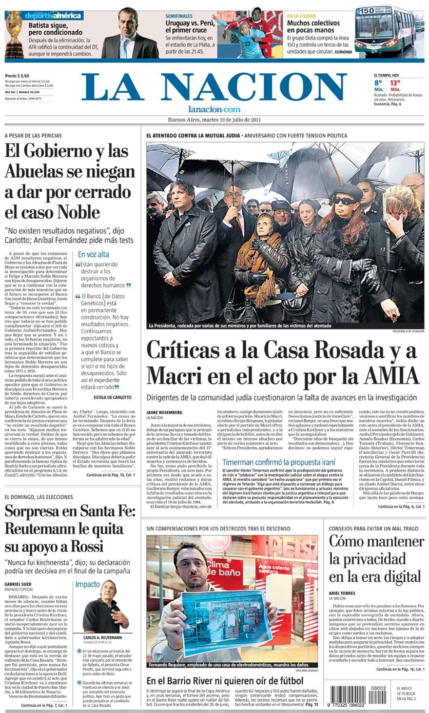 Tapa diarios la nacion clarin 19 07 11 report show for Diarios del espectaculo