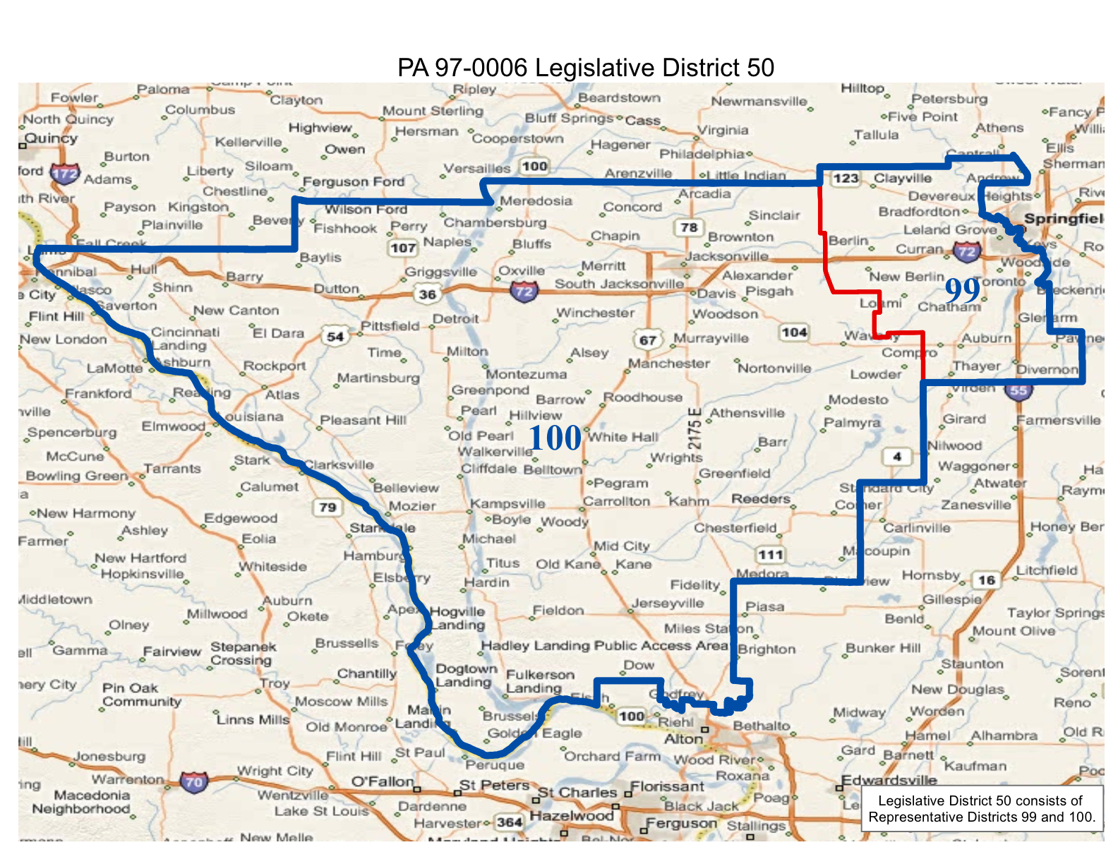 map of realigned illinois state senate district 50 and state representative districts 99 and 100