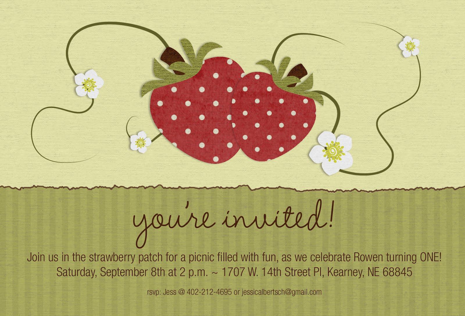 Strawberry Patch Picnic Invitations ~ 1st Birthday | Pixel Pro