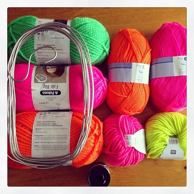 selection of neon wool and wire