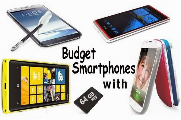 Different budget Smartphone with 64 GB memory expansion