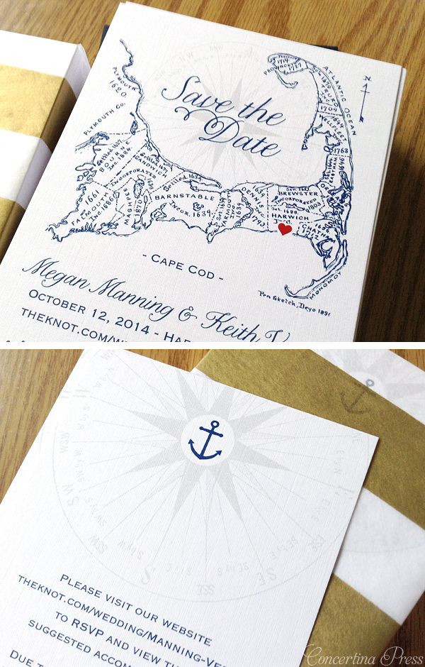 Cape Cod save the dates with map and an additional info card with a tiny anchor for accommodation details