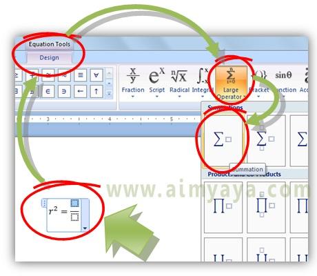 Gambar: Cara membuat rumus matematika dengan equation editor (large operator)  di microsoft word