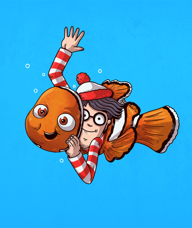 18-Finding-Nemo-and-Where-s-Wally-Alex-Solis-Illustrations-of-Icons-Unmasked-www-designstack-co