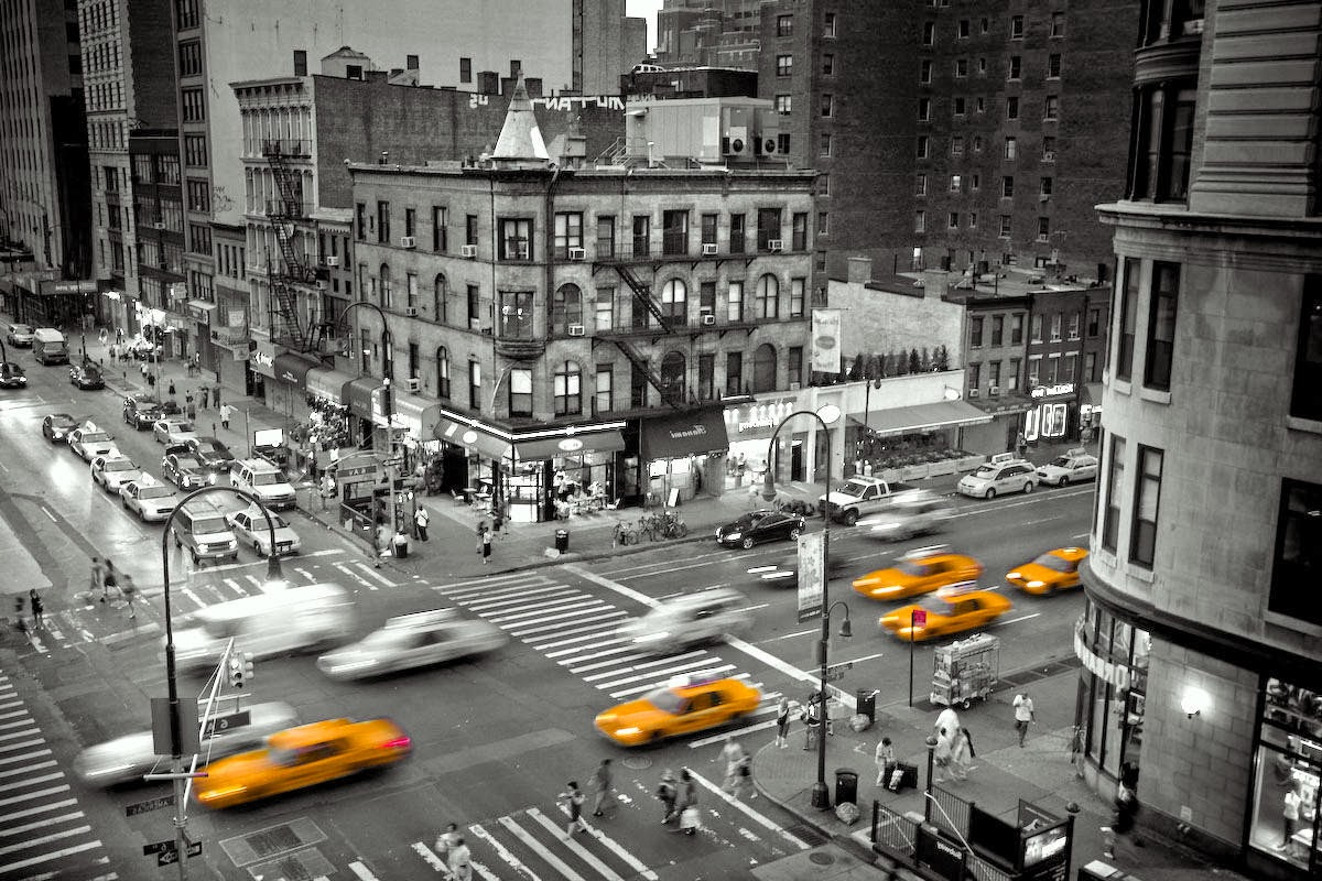 New York City Black And White Photography With Color Black And - Black and white photography with color accents