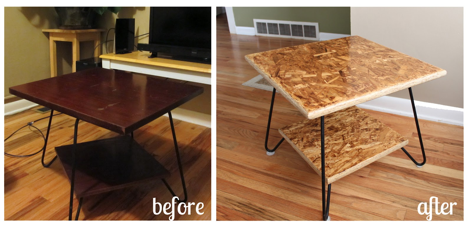 our homegrown spud a couple of diy osb tables. Black Bedroom Furniture Sets. Home Design Ideas