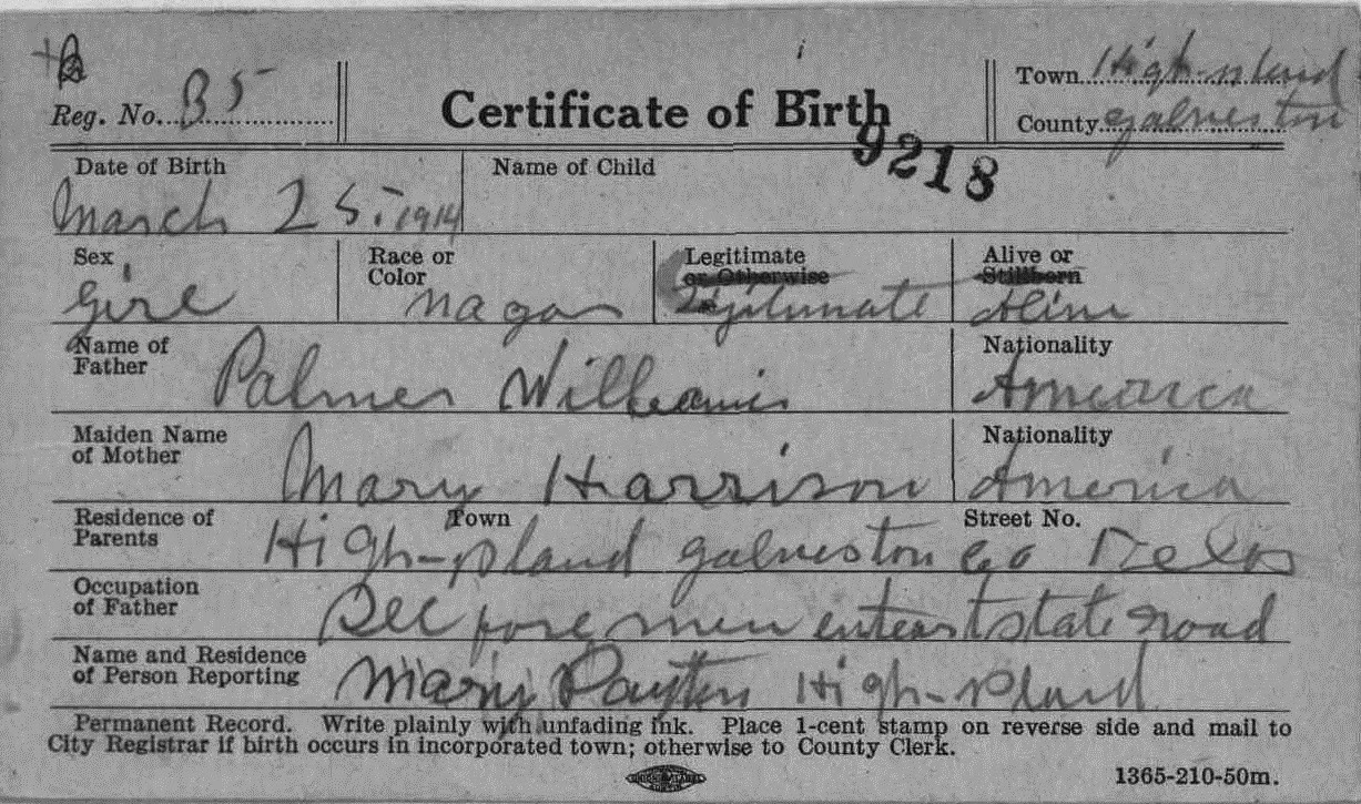 Mariahs zepher september 2014 born to parents palmer and mary harrison williams thelma entered the world in galveston texas on march 25th 1914 where she joined her other sisters aiddatafo Image collections
