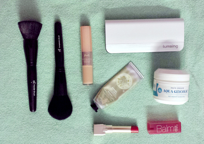 may monthly favorites, elf studio powder brush, elf studio complexion brush, macqueen dual veil concealer #21, aqua glycolic face cream, the body shop moringa hand cream, loreal color riche balm in heavenly berry, lumsing portable power bank review and swatches