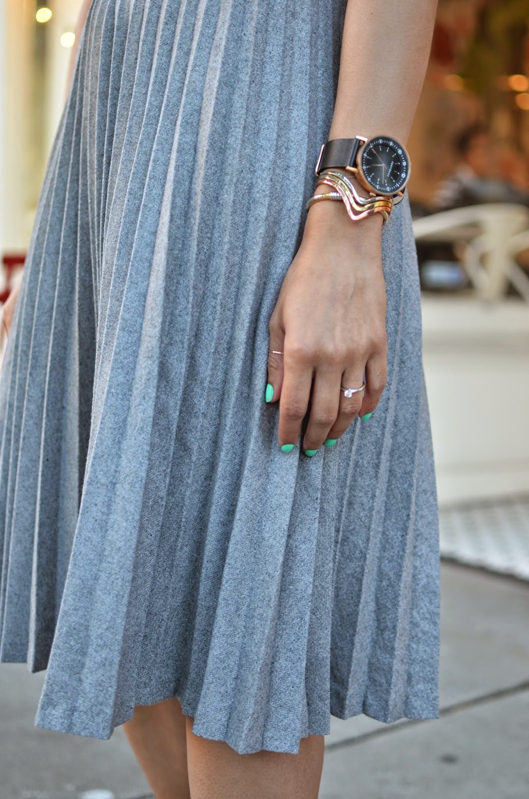 grey pleated skirt, Line & Dot, vintage bracelets, TOKYObay watch, aqua nail polish, feminine style
