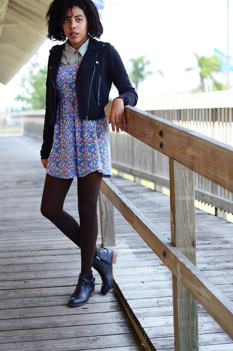 Miami Fashion and Indie Culture Blogger Anais Alexandre of Down to Stars in a forever 21 floral dress, vintage print buttondown, forever 21 moto jacket and dolce vita rodge boots