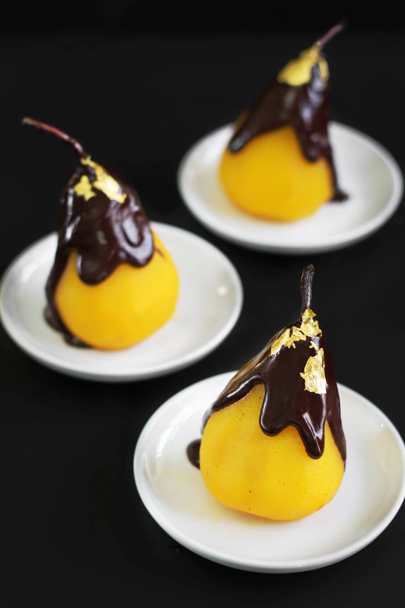 24 Karat: Saffron Poached Pears with Chocolate