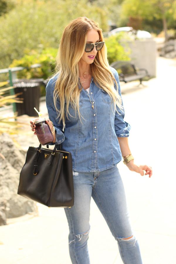 denim jeans with denim top